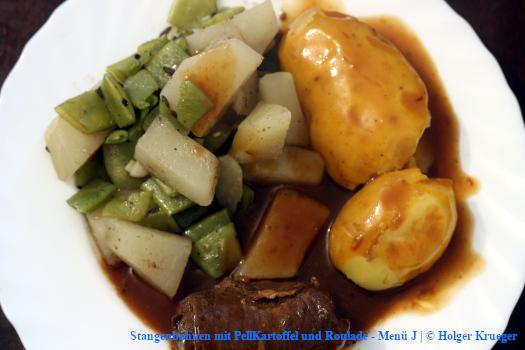 Stangenbohnen mit PellKartoffel und Roulade – Menü
