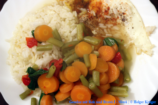 Gemüse mit Reis und Bratei | J – Menü