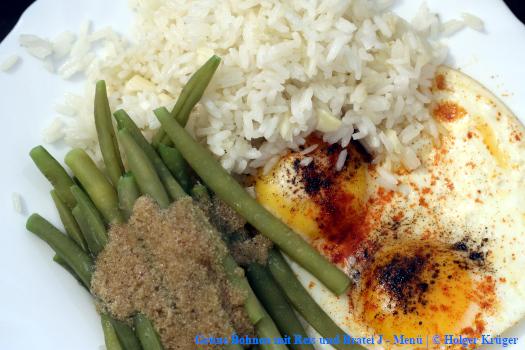 Grüne Bohnen mit Reis und Bratei | J – Menü