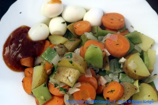 Wachteleier mit BIO Gemüse | J – Menü
