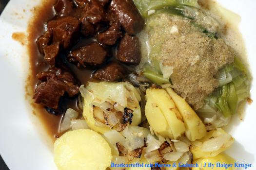 Bratkartoffel mit Porree & Gulasch | J
