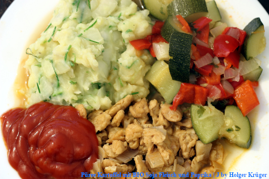 Püree Kartoffel mit BIO Soja Fleisch und Paprika | J – Menü