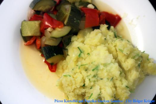 Püree Kartoffel mit Paprika-Gurken Gemüse | J – Menü