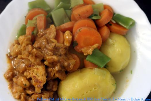 Pellkartoffel mit Möhren-Bohnen & BIO Soja Fleisch | J