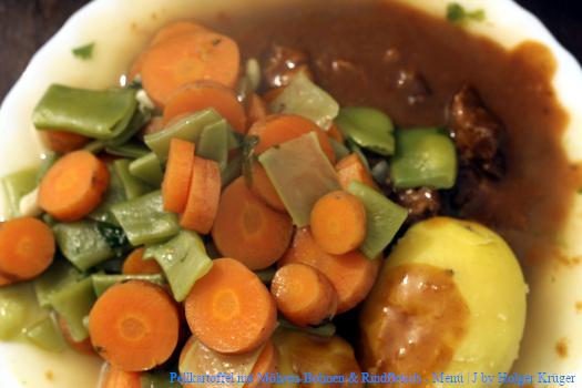 Pellkartoffel mit Möhren-Bohnen & Rindfleisch | J