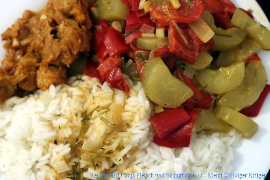 Reis mit BIO Soja Fleisch und Schnittlauch | J – Menü