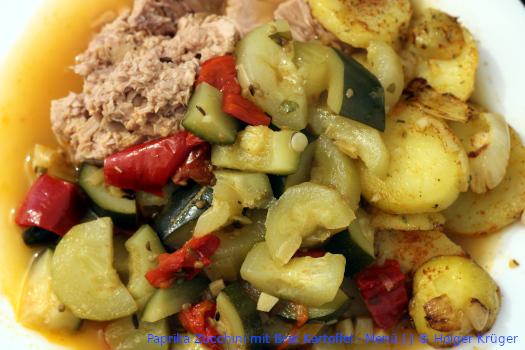 Paprika Zucchini mit Brat Kartoffel – Menü | J