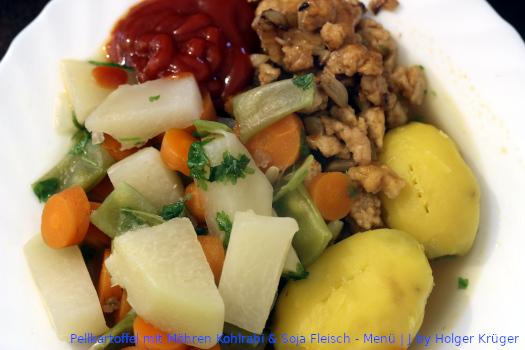 Pellkartoffel mit Möhren Kohlrabi & Soja Fleisch – Menü | J