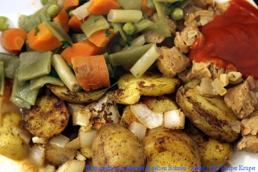 Bratkartoffel mit Möhren & gelben Bohnen – Menü | J