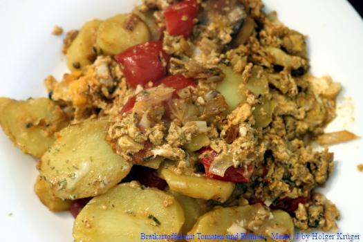 Bratkartoffel n mit Tomaten und Rührei – Menü | J