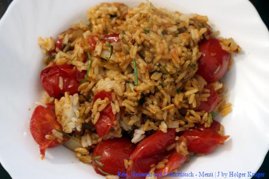 Reis, Tomaten und Schnittlauch – Menü | J
