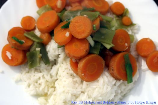 Reis mit Möhren und Bohnen
