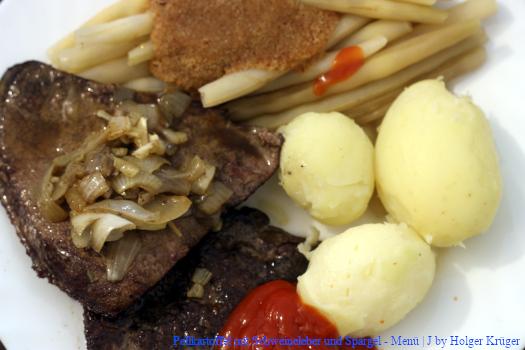 Pellkartoffel , Schweineleber & Bohnen – Menü | J