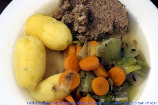 Pellkartoffeln mit Falschen Hasen & Gemüse | J